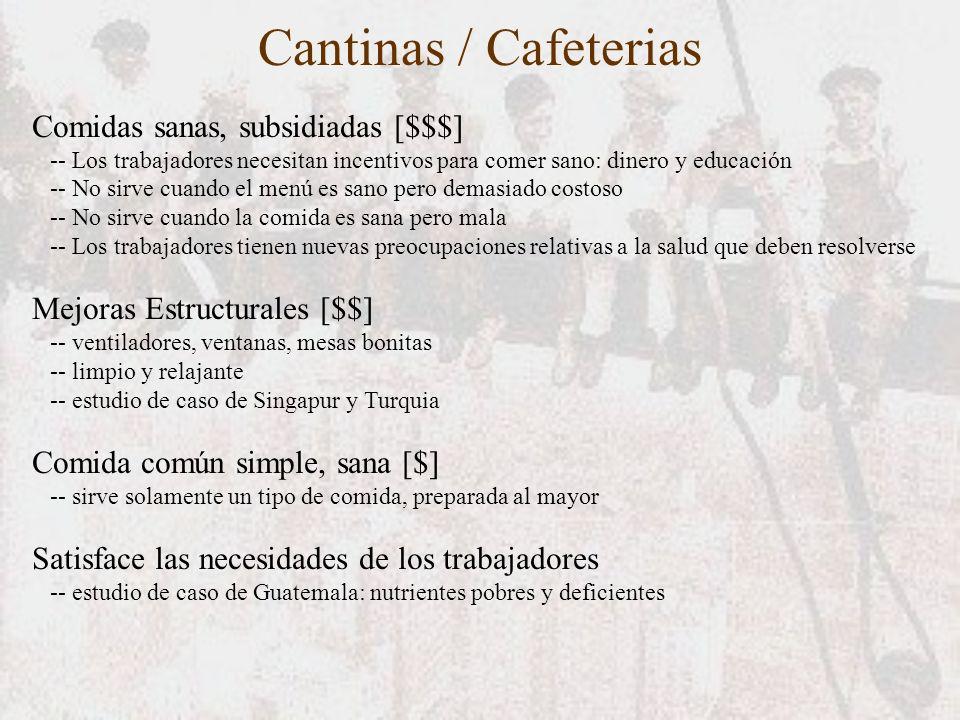 Cantinas / Cafeterias Comidas sanas, subsidiadas [$$$]